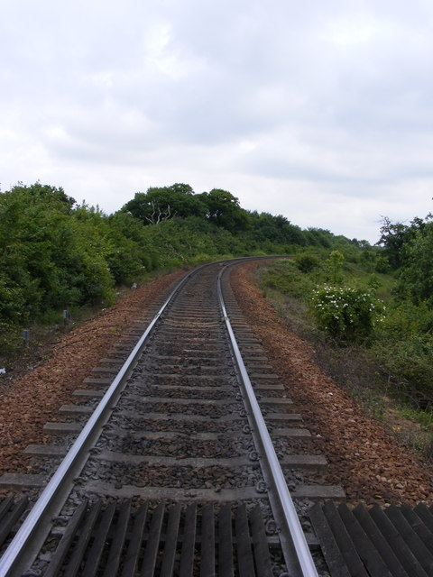 The railway heads towards Clickett Hill and Trimley