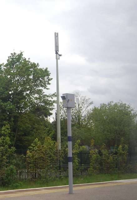 Telecommunications mast  and camera at the end of Bromley South Station