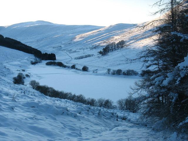 Frozen reservoir in Glen Sherup