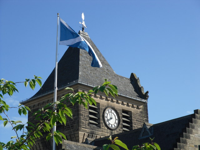 The Galashiels Town Clock on Braw Lads Morning