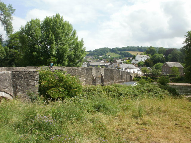 Crickhowell Bridge viewed from the west bank of the Usk