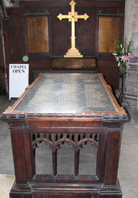St Nicholas' Chapel in Kings Lynn - war memorial