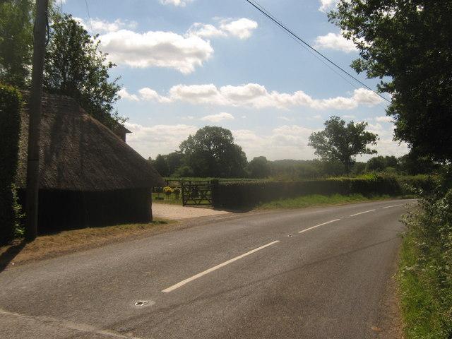 Thatched barn of Crockham Grange