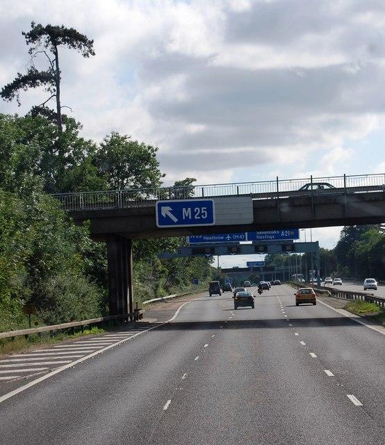 Morants Court Road bridge over the M25