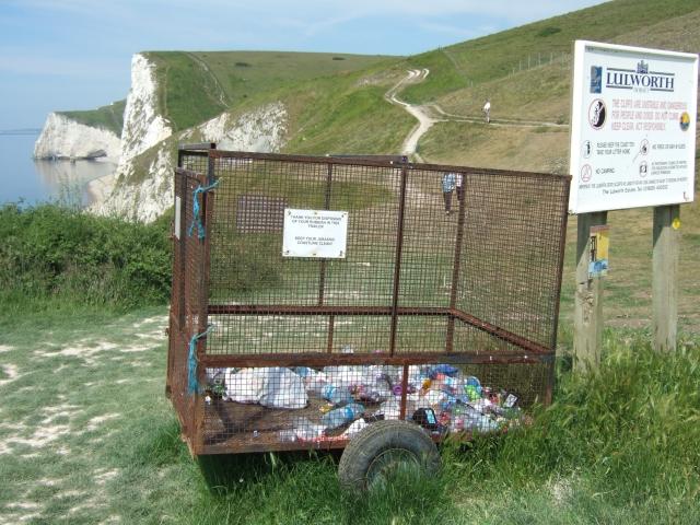 The trash bin at Durdle Door