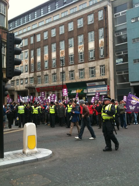 Front of a march against the English Defence League