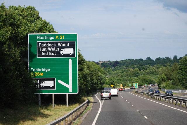 A26 turn off to Tonbridge