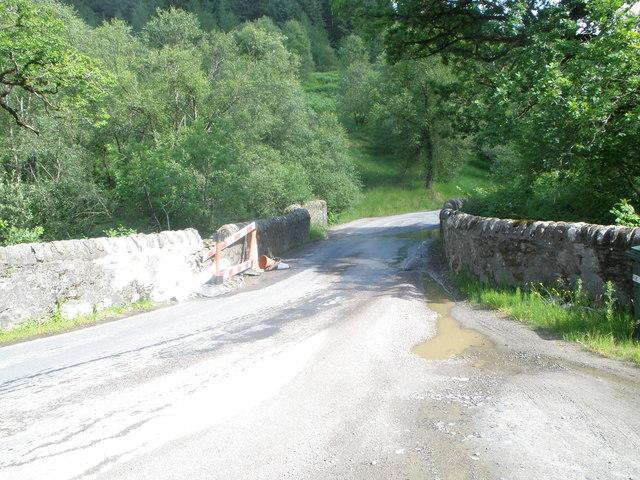 Damaged bridge on the B839 over the River Goil