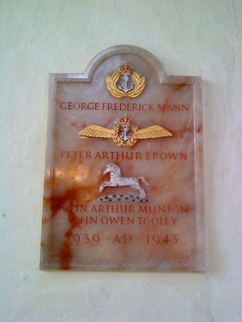 Second World War memorial in St. Peter's Church, Lowick