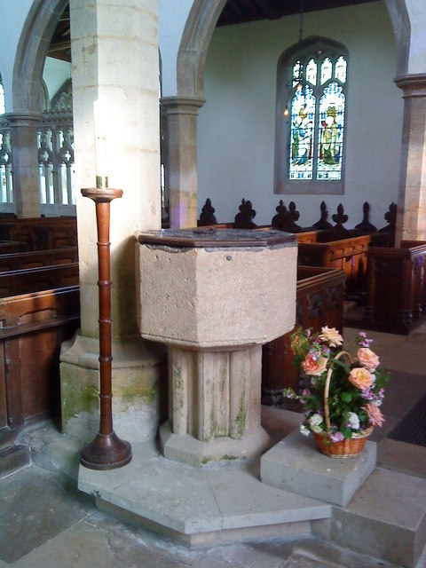 The font at St. Peter's Church, Lowick