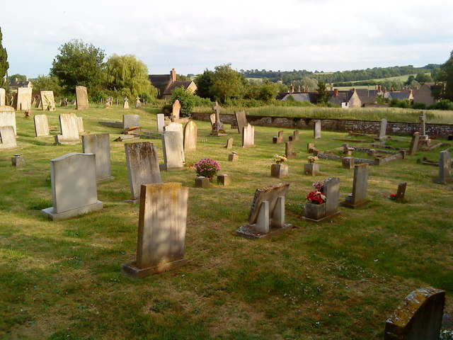 Gravestones in the churchyard at Lowick