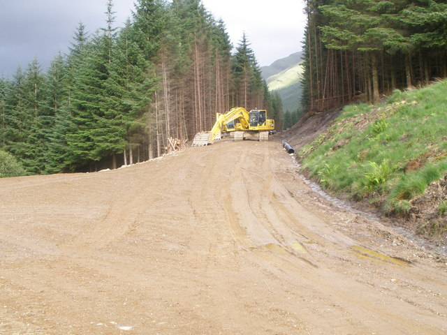 New forestry road under construction in Glen Kinglass