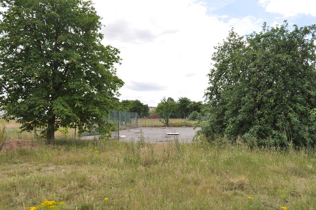 Disused tennis court on former RAF Finningley