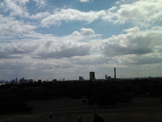 Panorama from Primrose Hill, looking south-southeast