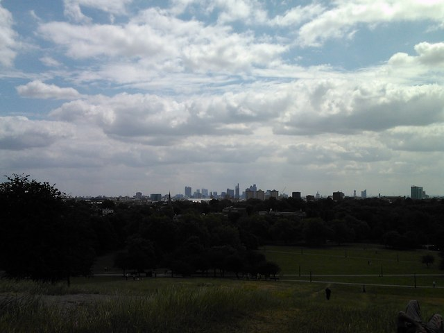 View of London's financial district from Primrose Hill, looking southeast