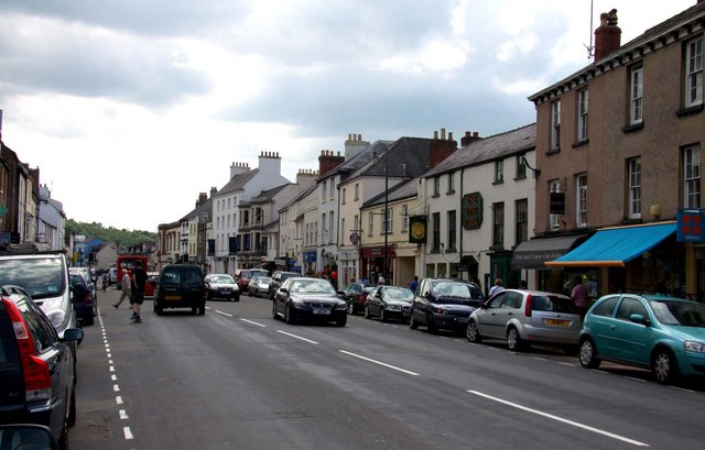 Looking down Monnow Street in Monmouth