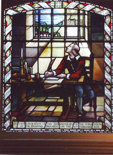 Stained glass window of John Bunyan, Bunyan Meeting, Bedford