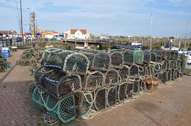 Lobster pots on in Scarborough harbour