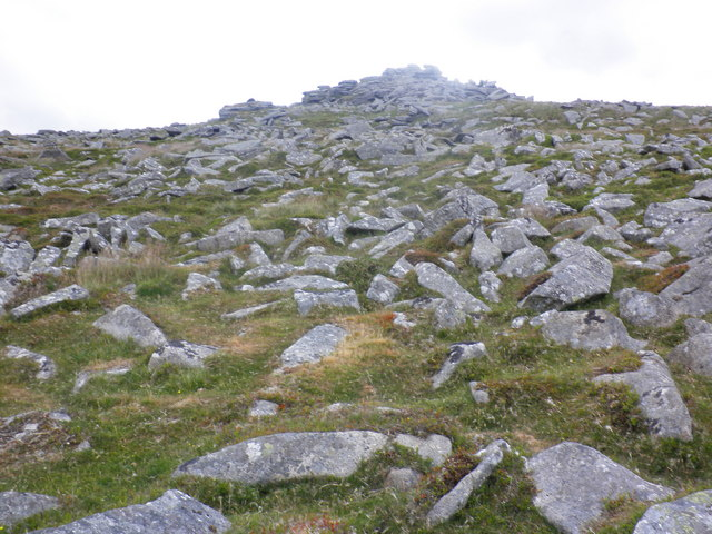 Looking up, to Higher Tor