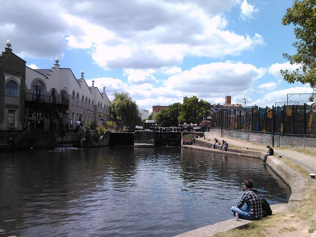 Camden Lock, viewed from the canal towpath