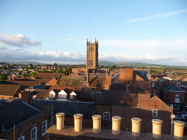 Ludlow roofscape on a July evening