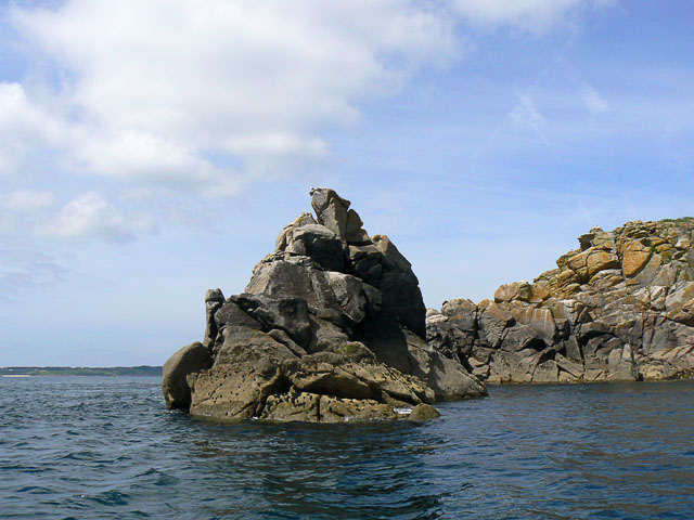 Rocky promontory  on Menawethan in the Eastern Isles, Scilly