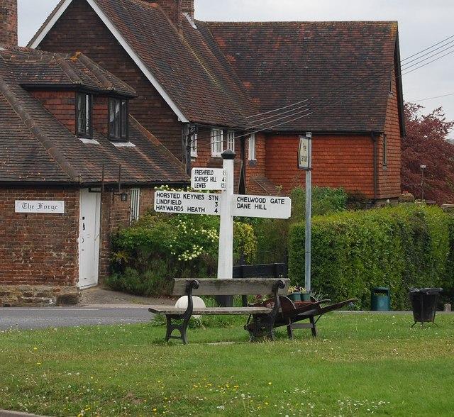 Roadsign at the village crossroad, Horsted Keynes