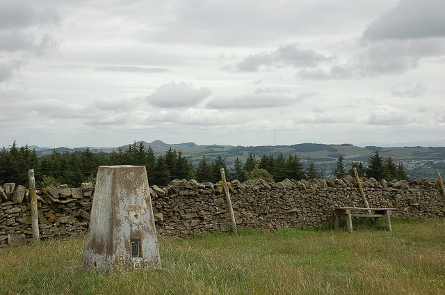 Trig point on Harehead Hill summit