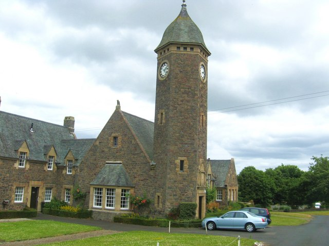 Clock tower at Lucy Sanderson's Cottages in Galashiels