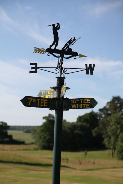 Signpost and wind vein on Kenwick Park Golf Course