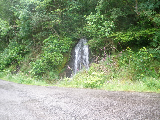 Waterfall on the unnamed burn at Coilessan Cottage
