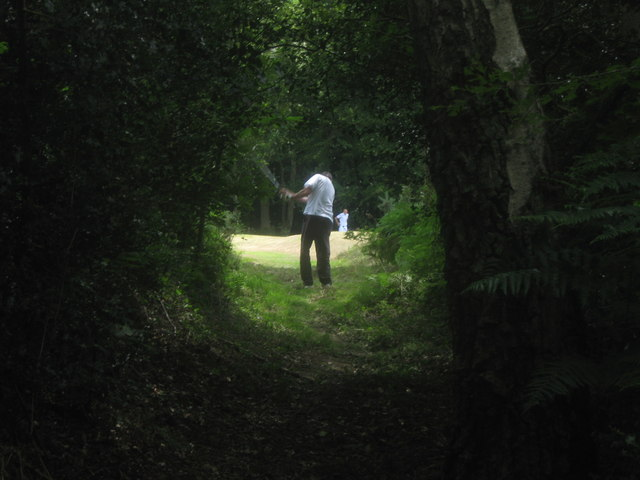 Golfer on the bridleway