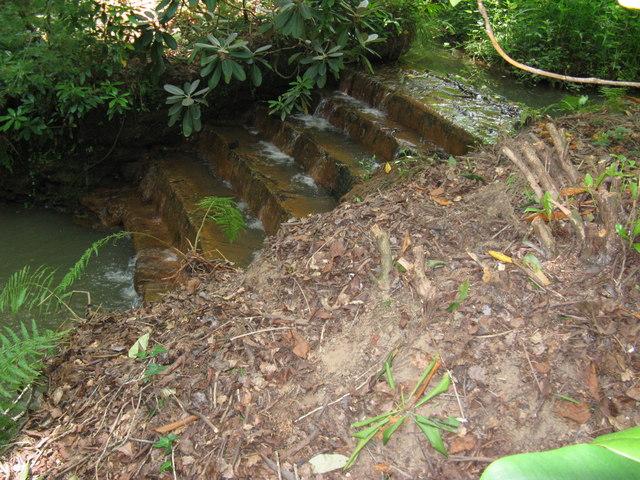 Manmade cascade near Brook House