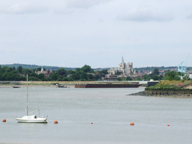View over the Medway towards Rochester Cathedral