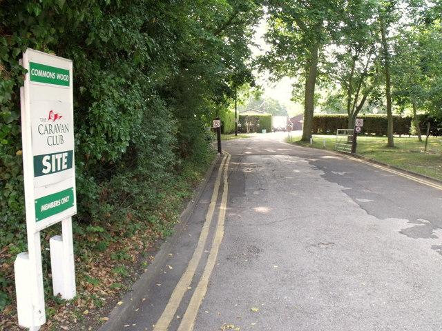 Entrance, Commons Wood Caravan Club site