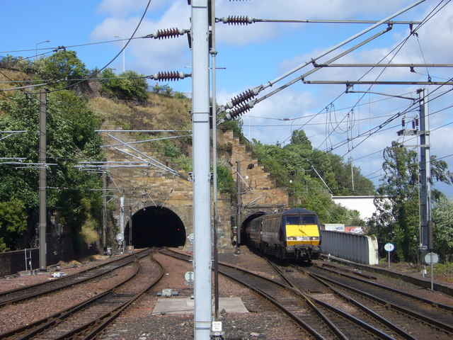 Train emerging from the Calton Tunnel - Act Three