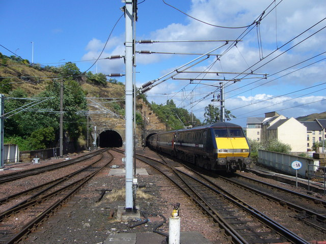 Train emerging from the Calton Tunnel - Act Four