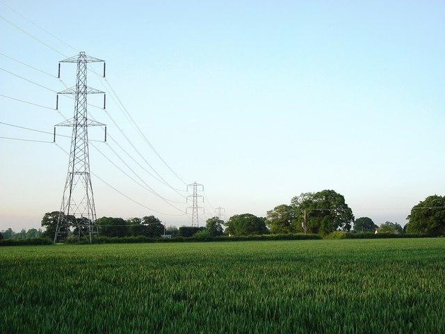 Power lines north of Black Hales Farm