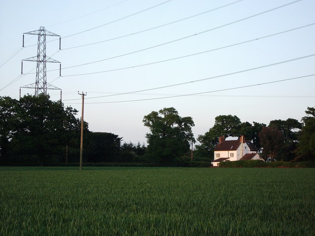 Electricity lines crossing Hob Lane