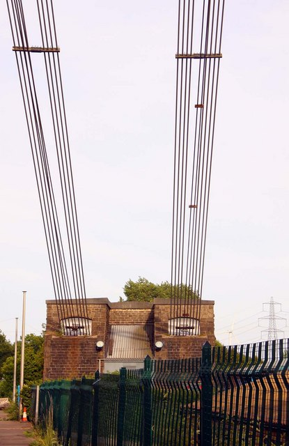 Anchorage of the cables of the Transporter Bridge