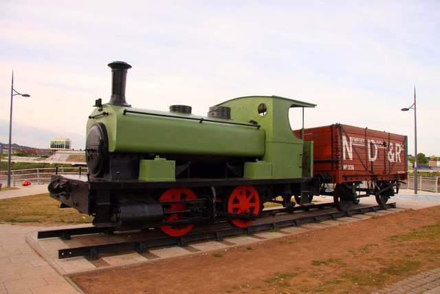 Industrial locomotive on show by the River Usk