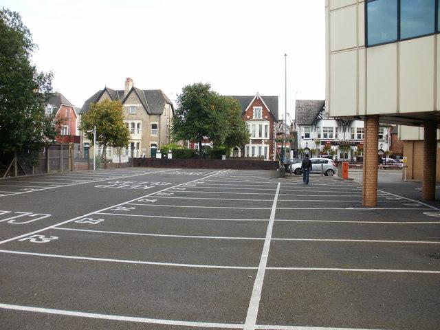 Parking bays and brick stilts, Newport Tax Office