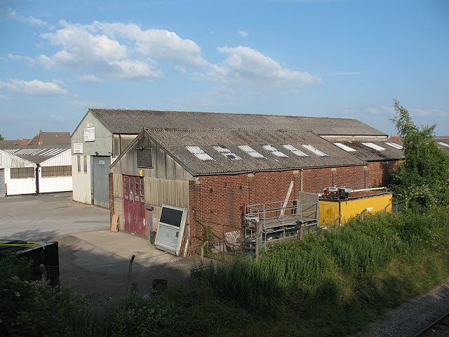 Warehouses next to the railway