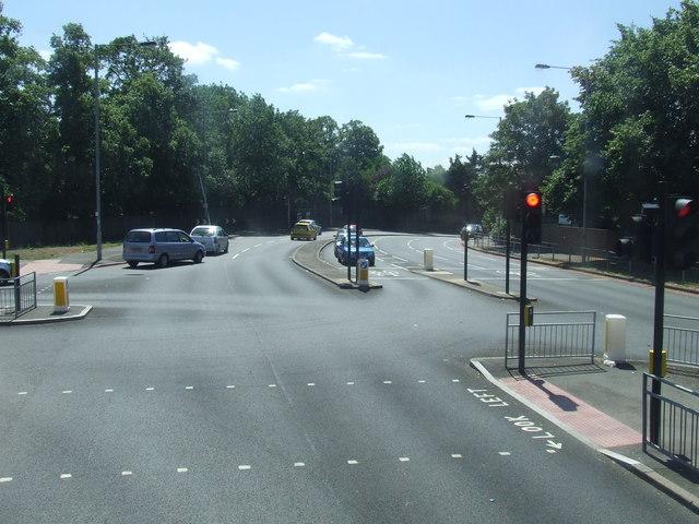 Road junction south of Morden