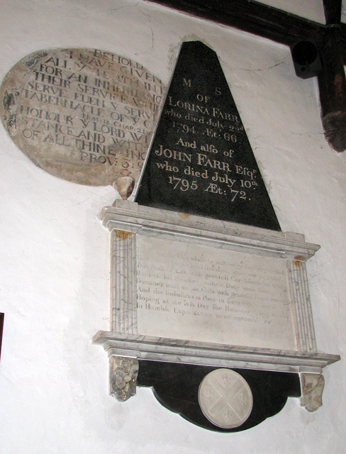 St Botolph's church in North Cove - C18 memorial