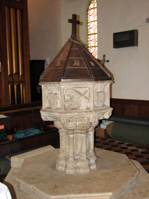 St Botolph's church in North Cove - C15 baptismal font