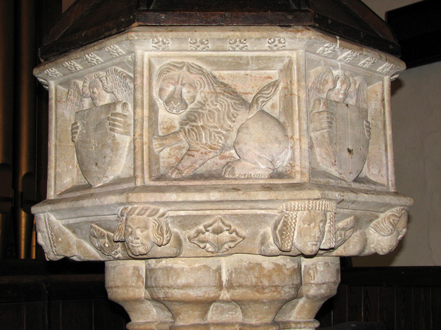 St Botolph's church in North Cove - C15 font (detail)
