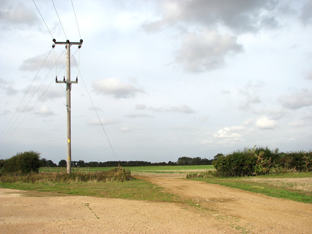 A junction of farm tracks west of the A149 road