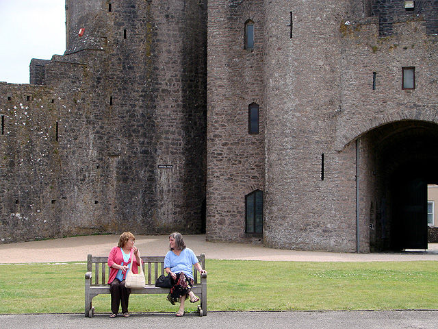 Having a chat at Pembroke Castle