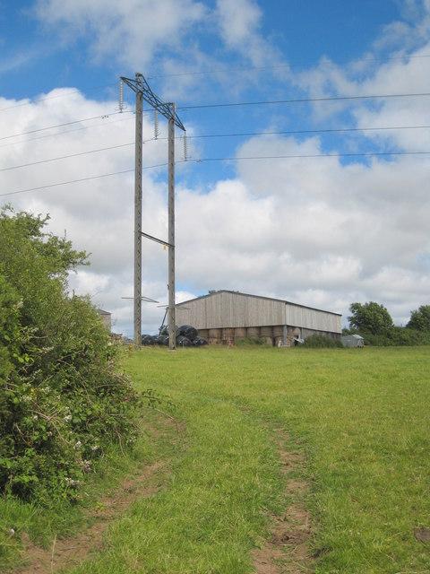 Pylon and barn at Trevales